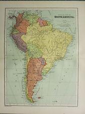 1904 ANTIQUE MAP ~ SOUTH AMERICA POLITICAL CHILE ARGENTINA BRAZIL PERU COLOMBIA