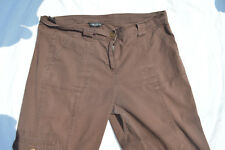DOROTHY PERKINS SIZE 20 BROWN 3/4 CROPPED TROUSERS 100% COTTON