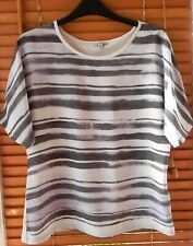 Jigsaw Silk Front Batwing Top Blouse Stripy XS UK 6-8 NEW