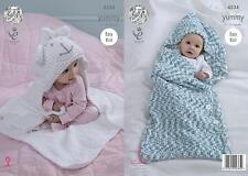 King Cole 4534 Knitting Pattern Babby Cocoon & Blanket in King Cole Yummy