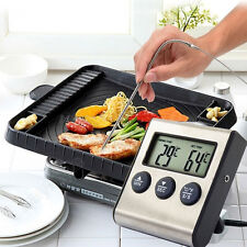Digital LCD Thermometer Timer for BBQ Grill Meat Kitchen Oven Food Cooking Tool