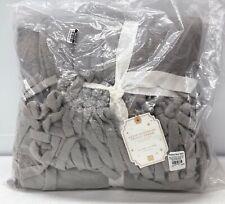 """NEW Pottery Barn TEEN Plush Bohemian Fringe 46 x 56"""" Throw Blanket~Light Gray"""