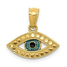 14K Enameled Eye Pendant New Charm Yellow Gold