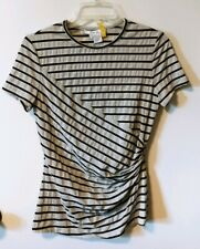 Per Se Pink Black Silver Metallic Stripe Short Sleeve Ruched Top Size Small ld
