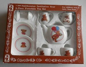 VINTAGE 1989 SMITHSONIAN INSTITUTION BEAR 9 PIECE PORCELAIN TEA SET-EASTER GIFT