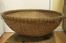"Vintage Hand Woven Wicker Basket Estate Find 14"" Diameter 5.5"" Deep Decorative"