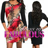 SEXY KNITTED DRESS FLORAL Size 8 10 12 14 HOT PARTY CASUAL EVENING WEAR CLOTHING