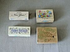 Happy Birthday & Happy New Year  & Used Mounted Rubber Stamps & Embossing