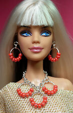 S797 Silkstone Barbie Fashion Royalty Doll Jewelry silver & coral