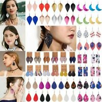 Boho Women Lady Leaf Teardrop Leather Earrings Ear Stud Hook Drop Dangle Jewelry