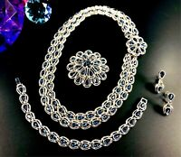CROWN TRIFARI SAPPHIRE RHINESTONE INDIA NECKLACE BROOCH BRACELET EARRINGS SET