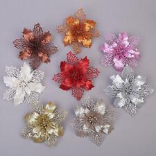 KE_ Christmas Glitter Hollow Flower Xmas Tree Hanging Ornament Window Decor Po