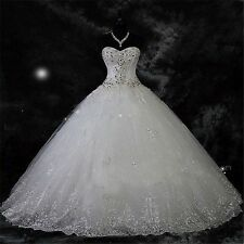White/ivory Princess Wedding Dress Bridal Gown Beading A-Line Tulle Custom Size