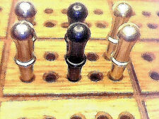 """6- Cribbage Pegs, """"Classic"""" Quality Metal  2-Brass  2-Black- 2-St.Steel   USA. ~"""