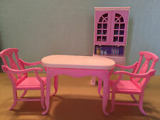 BARBIE DOLL CHINA CABINET/DESK W/ TABLE & 2 CHAIRS