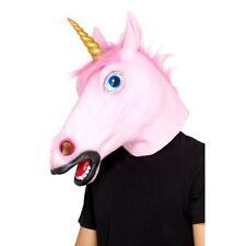 Unicornio Máscara Rosa Látex Adulto Mágico Story Criatura Accesorio de Disfraz