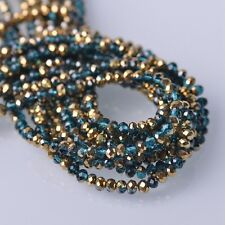 200pcs 4x3mm Rondelle Faceted Crystal Glass Loose Beads Gold&Peacock Blue