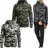 Mens Forever 21 Camo Print Fleece Hoodie Military Army Hooded Pullover Top