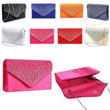 Women Lady Rhinestone Evening Bag Party Envelope Clutch Purse Handbag Wedding AU