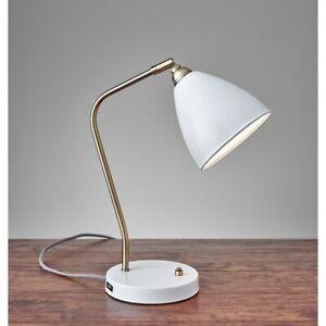 Adesso Chelsea Desk Lamp, Painted Brass/White - 3463-02