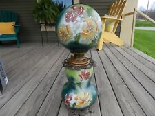 New listing 19th c.Victorian Tuxedo Gone With The Wind Kerosene Lamp Hand-painted Flowers