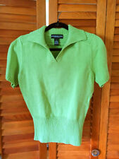 MONTEREY BAY Green Cotton Polo Pullover Short Sleeve Sweater Small $55