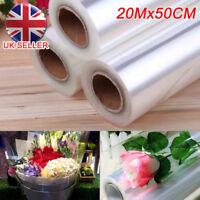 20m X 50cm Plain Clear Florist Craft Cellophane Roll Film Gift Wrap Hamper UK