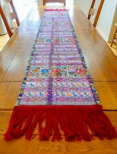 """Colorful Guatemalan Hand Woven Loom Table Runner 100% Cotton Natural Dyes 68""""14"""""""