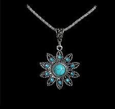 Flower Turquoise Necklace Tibetan Silver Pendant Boho Bohemian Diamante stone