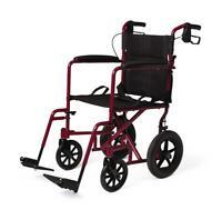 Medline Lightweight Transport Wheelchair w/Handbrakes, 12 inch Wheels, Red