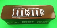 COLLECTABLE M&M MILK CHOCOLATE BROWN TIN CONTAINER NO CANDY
