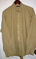 Burberry London Mens Sz M Shirt Plaid Check Green Purple Cotton Long Sleeve