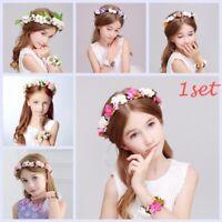 Girls Children Floral Garland Flower Hairband+bracelet Crown Headband Headwear