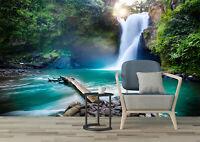 3D Tropical jungle Green Waterfall Self-adhesive Bedroom Wallpaper Wall Murals