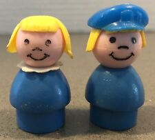 Lot of 2 Vintage Fisher Price Little People Wooden Figures Blue Hat