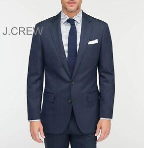 J.CREW Ludlow blazer wool navy blue herringbone slim-fit suit jacket 38S 38 NWT