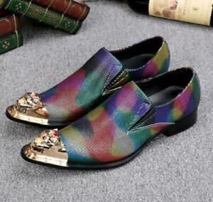 Mens Metal Toe Rainbow Colors Shoes Wingtip Real Leather Business Dress Formal