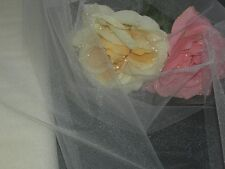 """Ivory tulle fabric glimmer material bridal veil net mixed use textile 54"""" wide"""