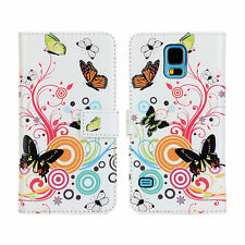 For Samsung Galaxy S5, Butterfly Flower Leather Wallet Card Case Cover Stand