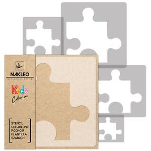 "5x reusable PLASTIC Stencils / 13.4"" to 3.5"" / Nursery KIDS Template / PUZZLE"