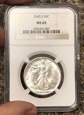 1945-S Walking Liberty Half Dollar NGC MS65 Blast White Fresh Coin! RKLE