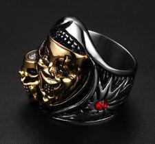 Size 8/9/10/11/12 Cool Men's Punk Band Skull Gothic Stainless Steel Biker Ring