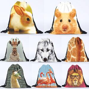 Unisex Animal 3D Printing Bags Drawstring Backpack Beach Sports Christmas Gift