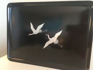 Otagiri Hand Crafted Serving Tray Iridescent Japanese Cranes Flying
