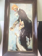 Clown Litho Rico Tomaso FRAMED  BOARD Vintage  -