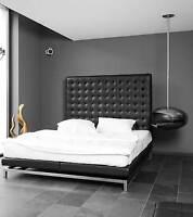 HIGHBACK(VERO) pelle letto con viscoelast. Materasso 200x180x160 cm. qualità