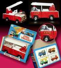 Vecchio giocattolo latta auto Steel FIRE TRUCK POMPIERI OVP Hong Kong 70er TIN TOY