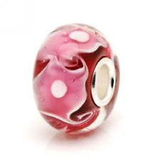 Genuino 925 Plata Cristal Rosa Bead Fits European Charm Bracelets