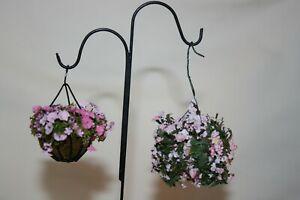 Miniature Dollhouse Artist Signed Double Shepherds Hook & Hanging Plants 1:12 NR