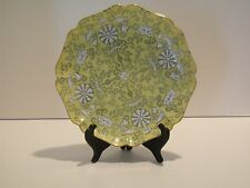 """Vintage 1970s ACF Japanese  Plate Decorated Hong Kong Hand Painted Yellow-8 1/2"""""""